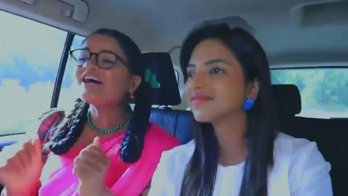 Ningi and Rachna have a fun time in the car
