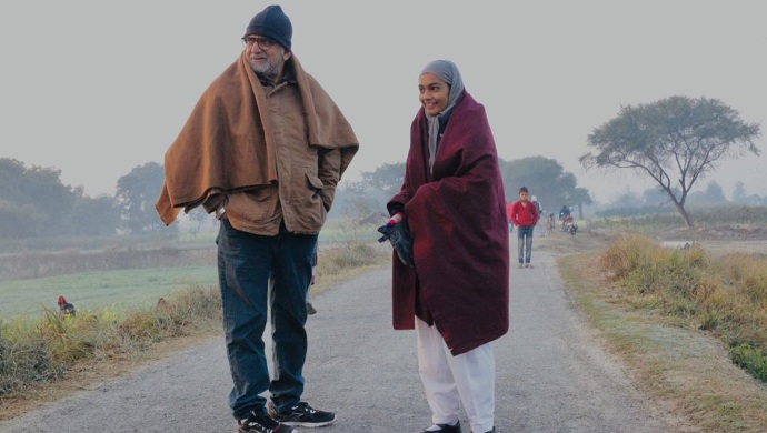 Aditi Subedi with Baba Azmi on the sets of Mee Raqsam