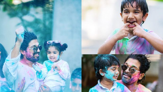 Allu Arjun with Ayan and Arha