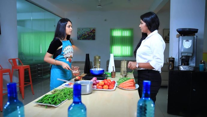 Amulya cooks in the office