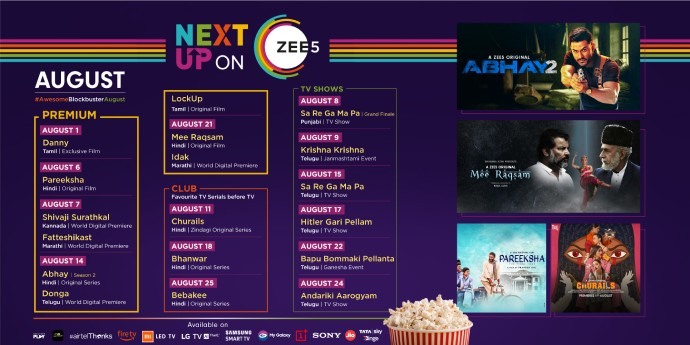 Check out the ZEE5 August Line up for more info about your favourite releases (source:ZEE5)