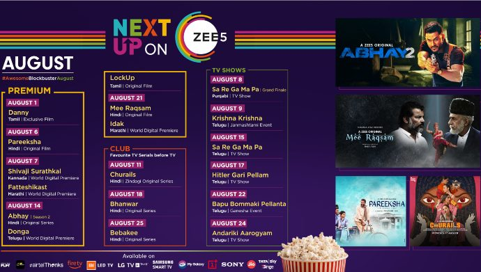 August Line Up for ZEE5