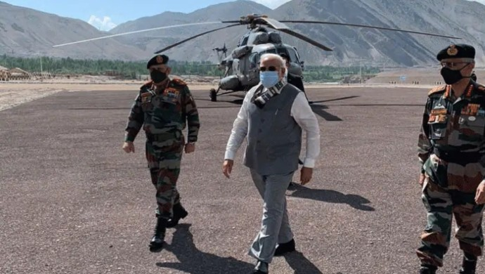 PM Narendra Modi Arrives In Ladakh To Review India-China Border Situation