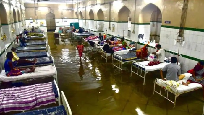 Rain Water Enters Uttar Pradesh's Mahoba District Hospital And Hyderabad's Osmania General Hospital