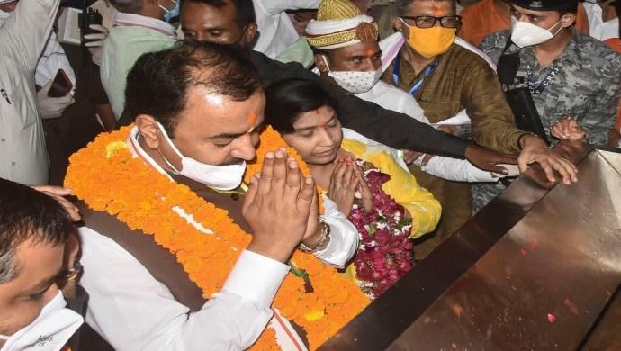 UP Deputy CM Visits Ram Temple In Ayodhya Ahead Of Bhoomi Pujan