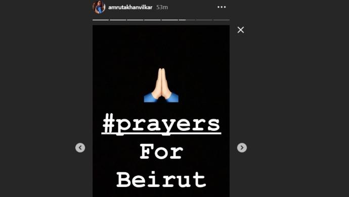 Amruta Khanvilkar Offers Prayers For The Victims Of Beirut Explosion