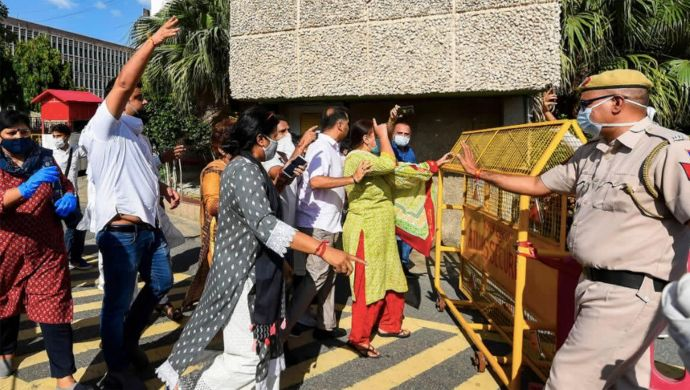 Delhi Congress Protests Outside AIIMS Over Brutal Rape Of Minor