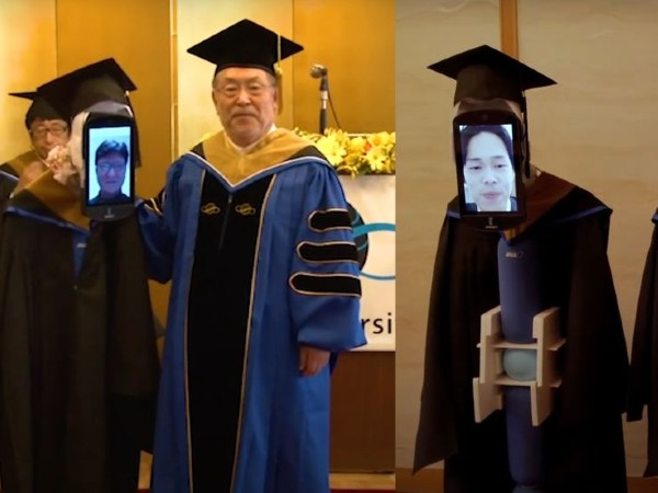 Robots Substitute For Students At Indonesian University's Graduation Ceremony
