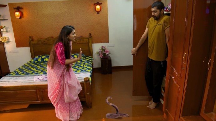 Abhimanyu gets scared by the snake (source:ZEE5)
