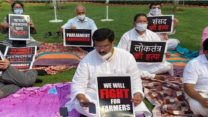 Suspended Rajya Sabha MPs Continue Their Protest Through The Night