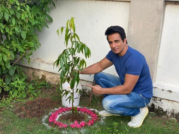 Sonu Sood participates in Green India Challenge, plants sapling in Ramoji Film City