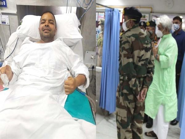 J-K LG Manoj Sinha visits Dy Commandant Rahul Mathur at 92 base Hospital