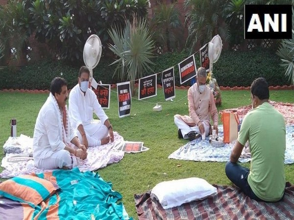 Suspended MPs on sit-in protest, refuse tea from Rajya Sabha deputy chairman