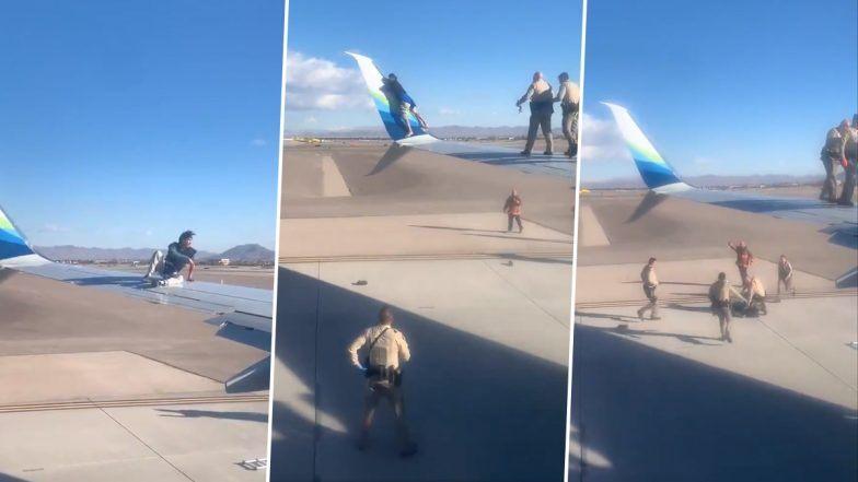 Man Climbs Wing of Alaskan Airlines' Plane in Las Vegas! Taken Into Custody  (See Picture & Video) - ZEE5 News