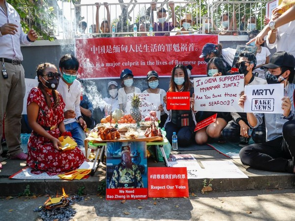 Image result for Myanmar Civilians Protest Against China For Supporting Military Coup