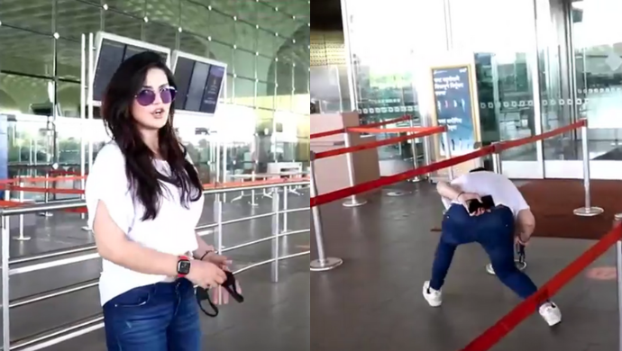 Celeb Spotting: Zareen Khan Bends and Crosses Security Fencing To Jump Lines at Mumbai Airport
