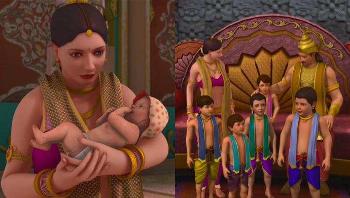 Kunti with Karna, Kunti with Pandu and Pandavas