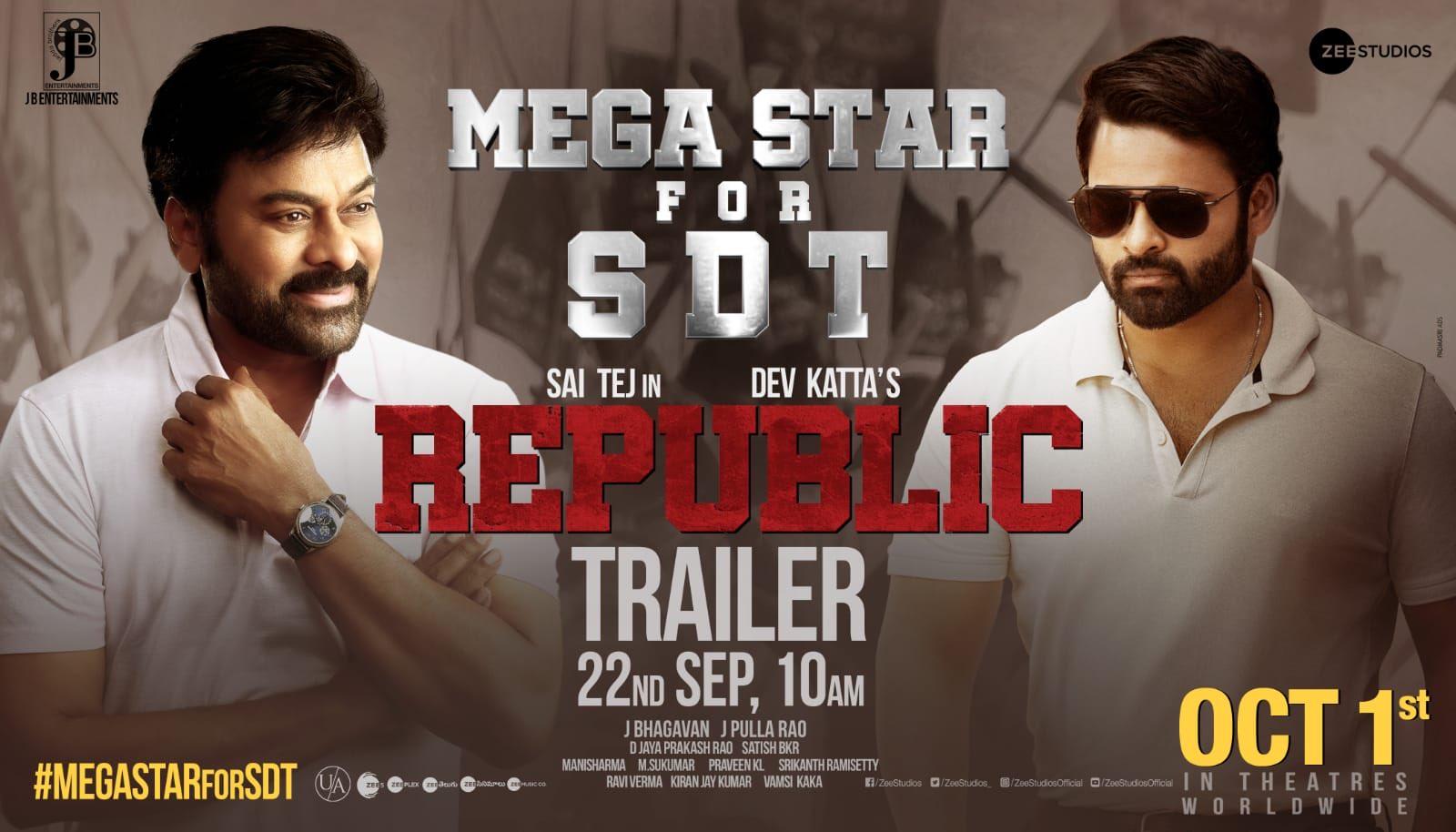 Chiranjeevi to launch Sai Dharam Tej's trailer of Republic tomorrow?