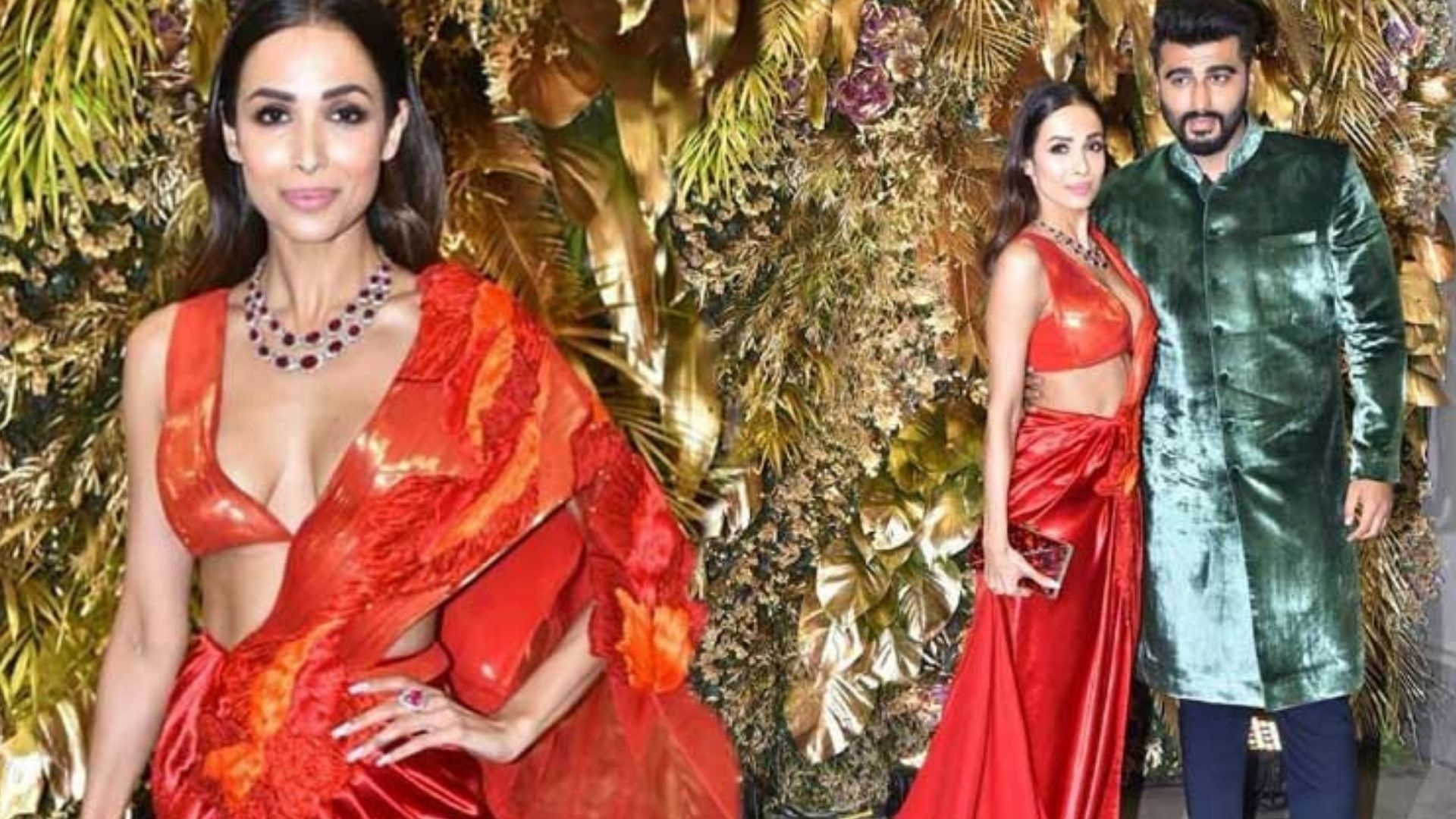 When Malaika Arora Looked Sizzling Hot In A Red Saree And Arjun Kapoor Couldn't Get His Eyes Off Her