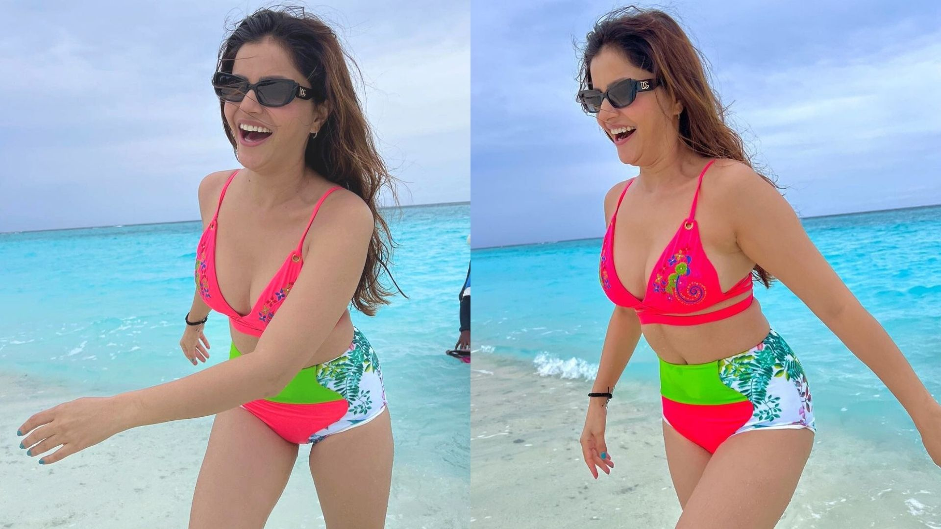 Rubina Dilaik Jumps Out Of Joy As She Enjoys Her Vaccation In Maldives; Actress Stuns In Neon Pink Bikini – PICS Inside