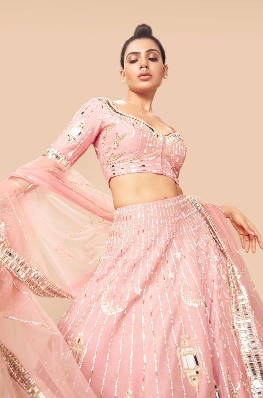Samantha Prabhu's new avatar….Pink Lehenga, hairdo, nose ring