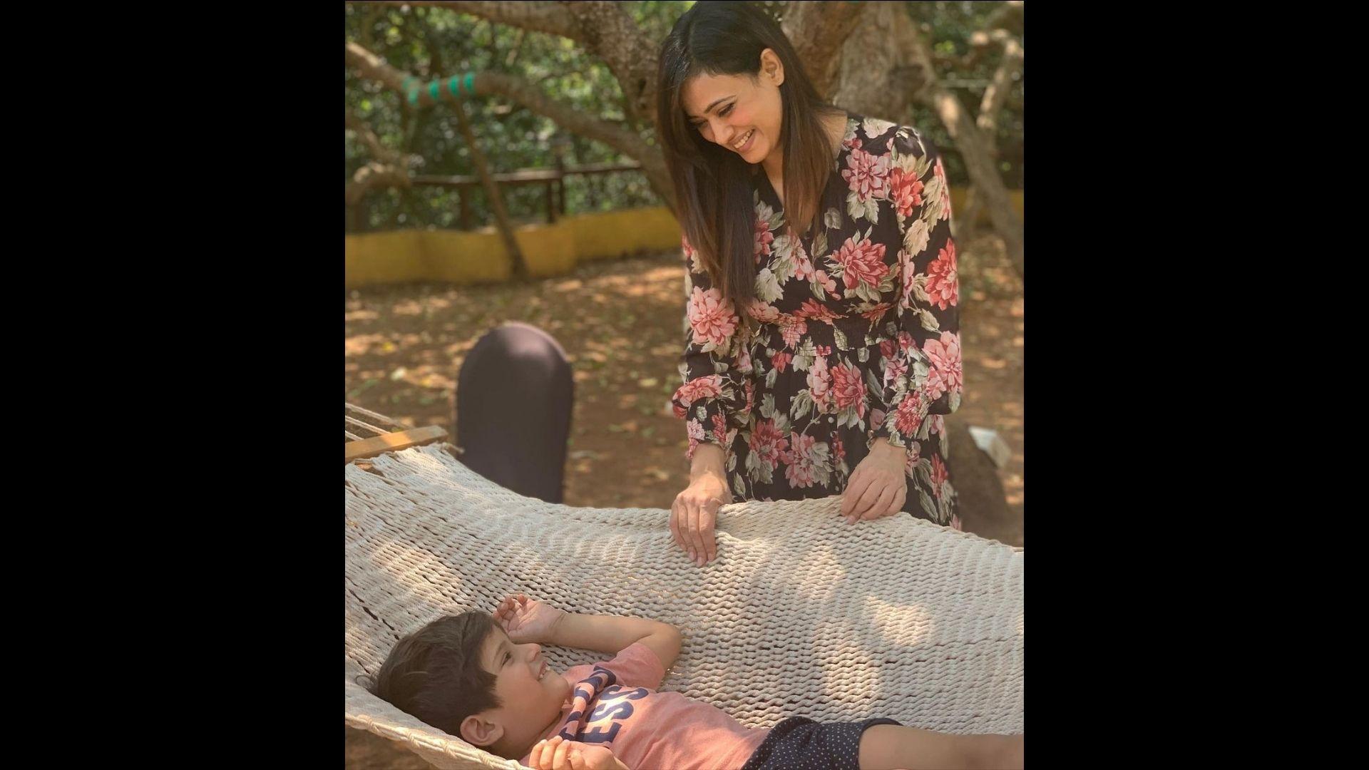 Shweta Tiwari Makes A Fashion Splash At The Airport As She Heads To Goa With Her Son Reyansh Kohli