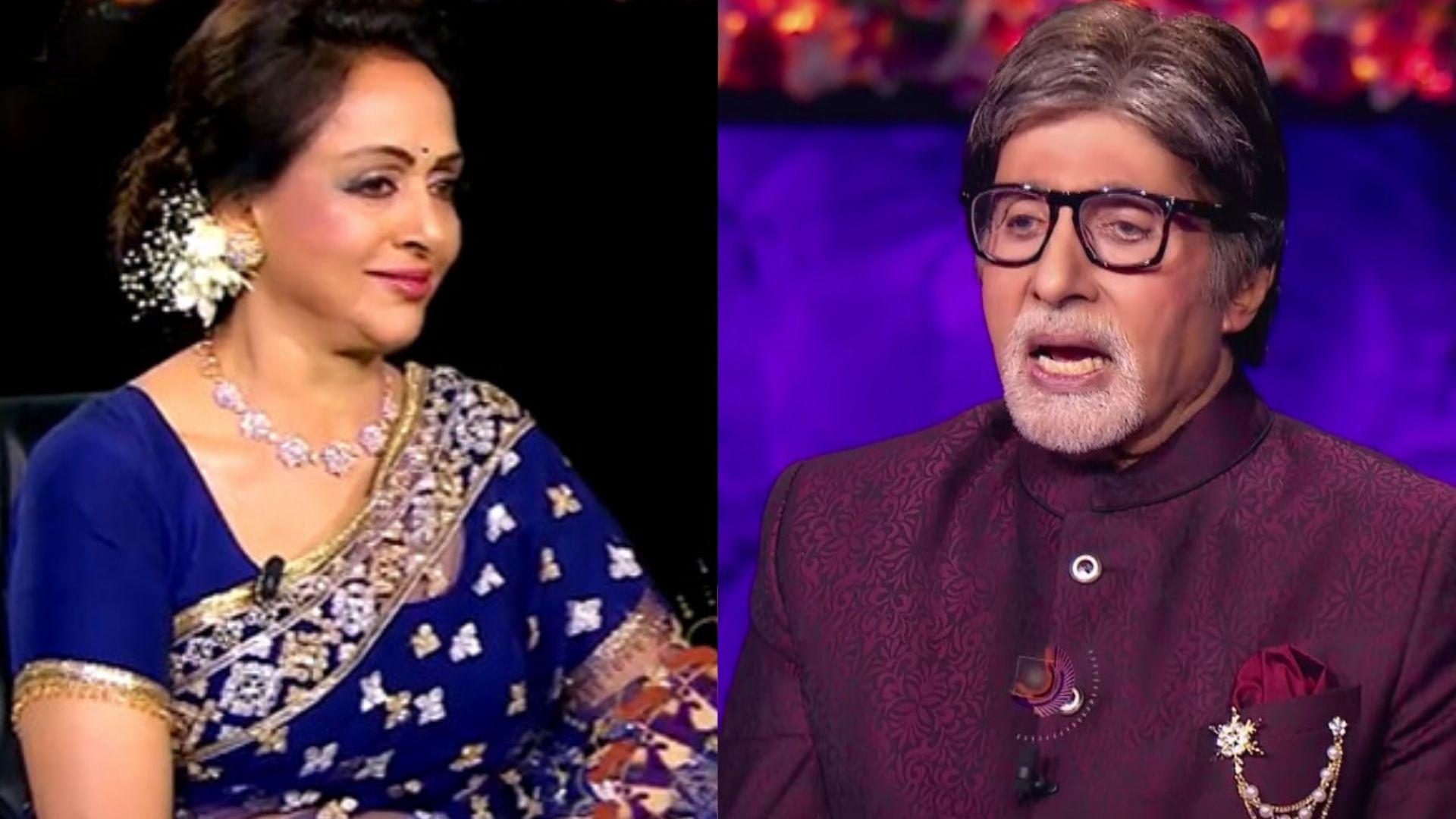 KBC 13: Amitabh Bachchan All Shocked To See Hema Malini Recreate Dharmendra's Lines From Sholay – Watch