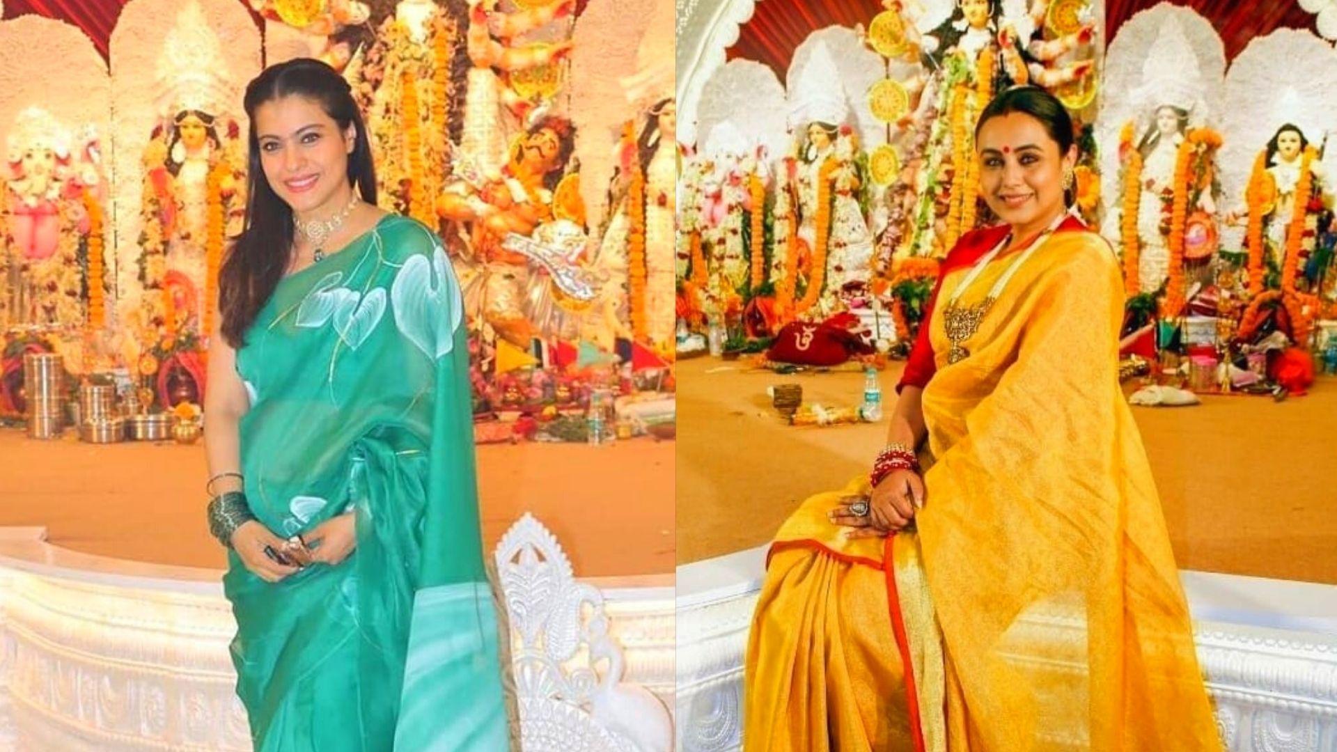 Ram Navami 2021: Cousins Rani Mukerji And Kajol Look Extremely Graceful As They Deck Up For Maha Navami