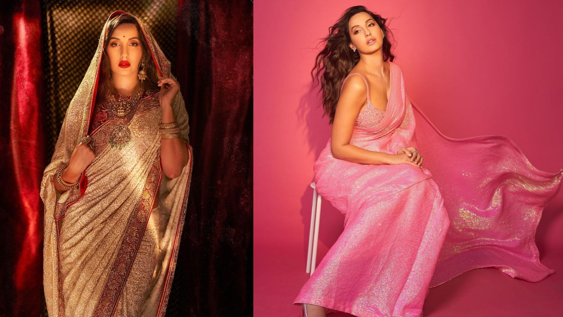 Nora Fatehi's Elegant Saree Looks Will Make You Go Weak In The Knees As She Gives Major Ethnic Goals