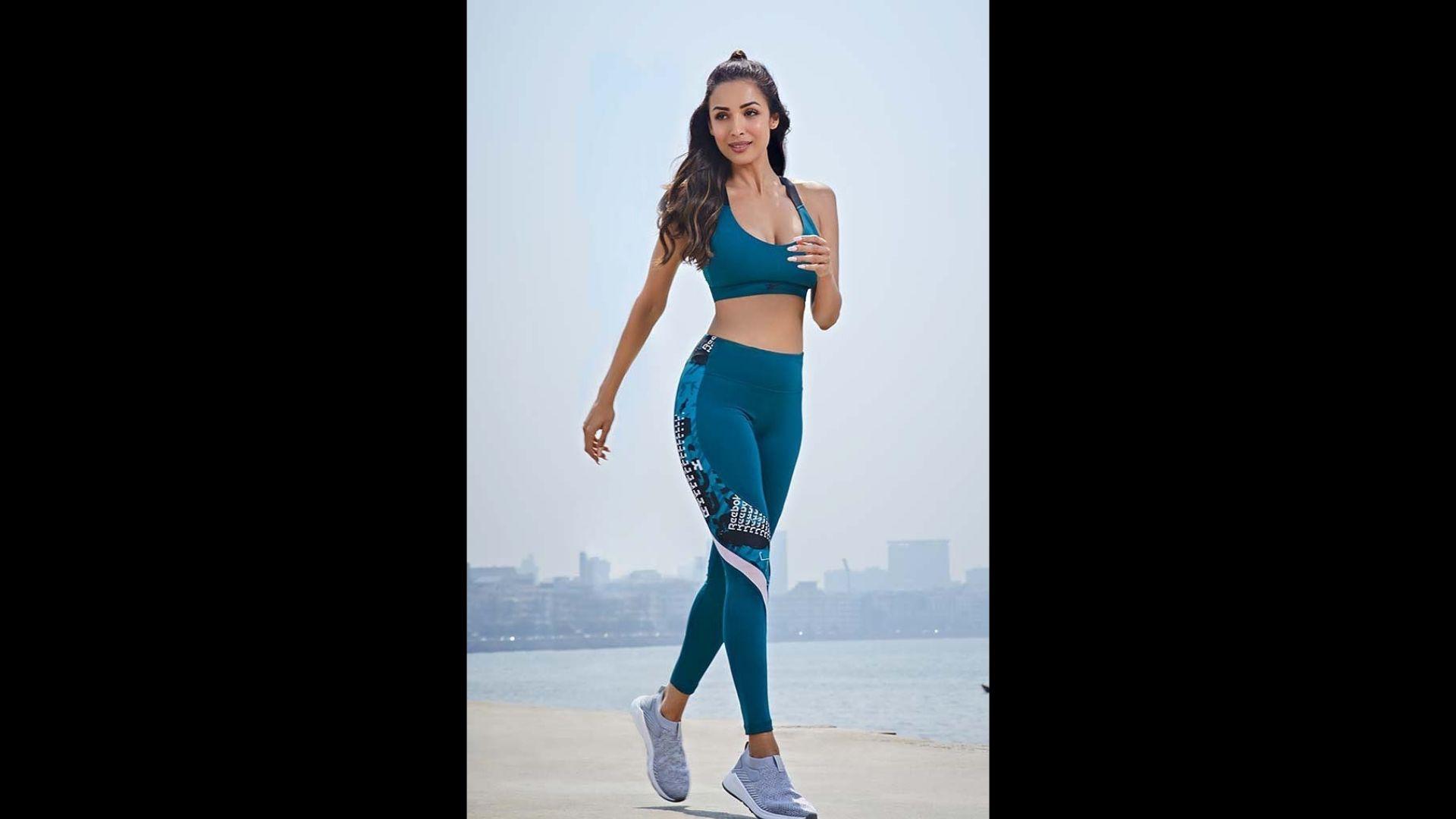 Malaika Arora Flaunts Her Perfect Curvy Figure In Fashionable Blue Tie-Dye Athleisure