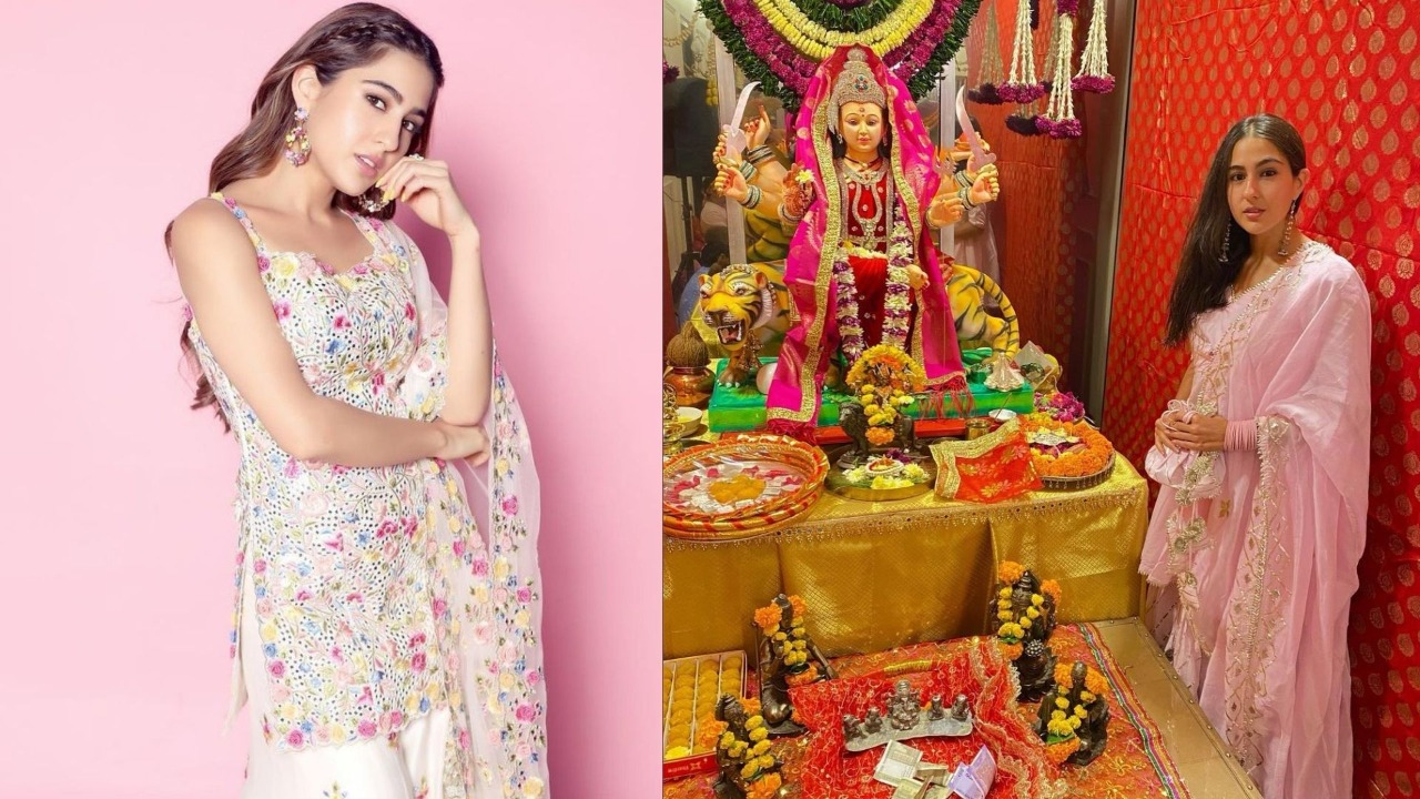 Sara Ali Khan Indulges In A Sweet Banter With Paps; Dresses Gracefully As She Celebrates Dusshera With Mother Amrita Singh